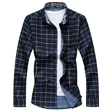Honghu Herren Casual Regular Fit Stretch Langarm Hemden Button-down Gitter  Freizeithemd Größe M Schwarz