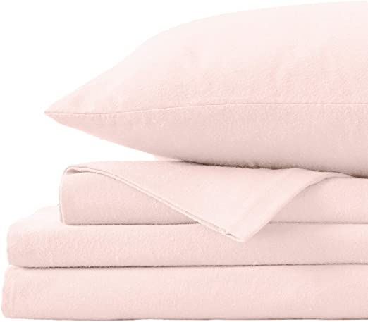 Amazon Com Great Bay Home Extra Soft 100 Turkish Cotton Flannel Sheet Set Warm Cozy Heavyweight Luxury Winter Deep Pocket Bed Sheets In Solid Colors Nordic Collection Twin Blush Pink Home Kitchen