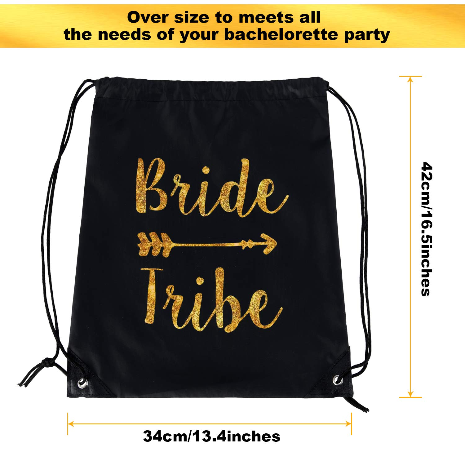 12 Pieces Bride and Bride Tribe Drawstring Bags Wedding Drawstring Gift Bag Bridal Party Favor Bags for Bridesmaids Bridal Party Bridal Shower, 16.5 x 13.4 inch (Black) by Maitys (Image #2)