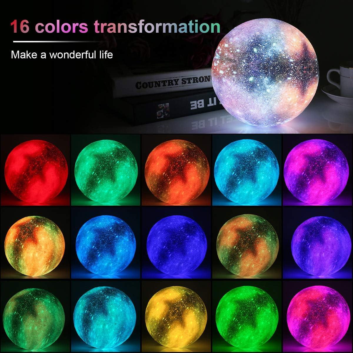 15cm Mond Lampe Nachtlampe 3D Mondlicht 16 Farbe LED RGB ...