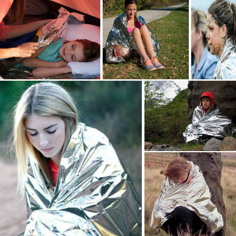 INTVN Sac de Couchage de Survie Tente de Secours et Couverture de Survie durgence Couvertures Thermique pour Le Camping en Plein Air et La Randonn/ée