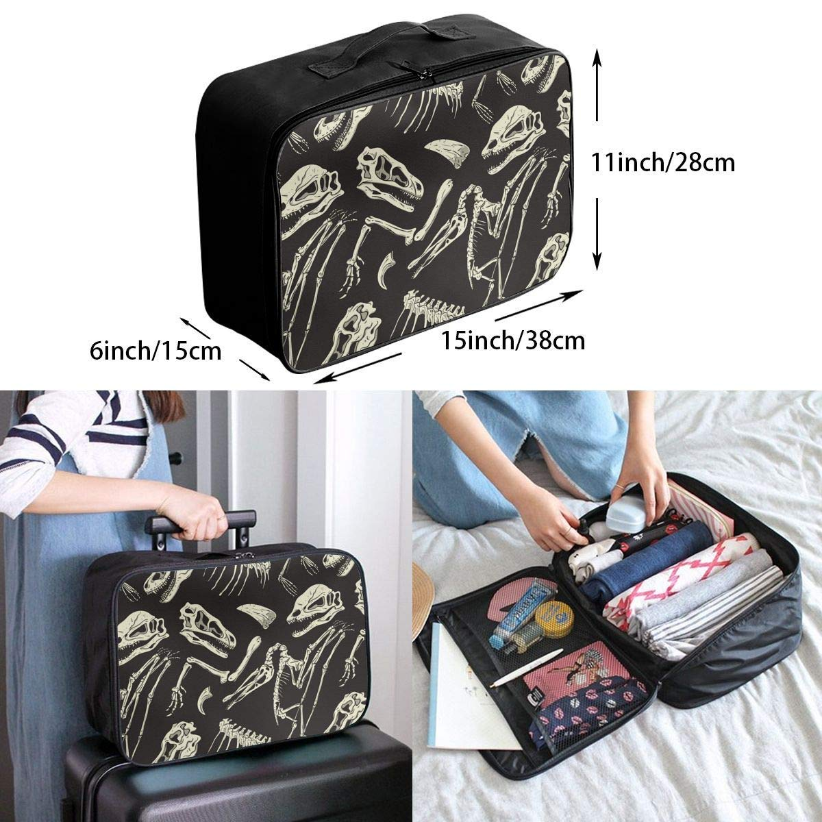 Dinosaurs Fossil Pattern Luggage Bag Capacity Portable Large Travel Duffel Bag Travel Organizer