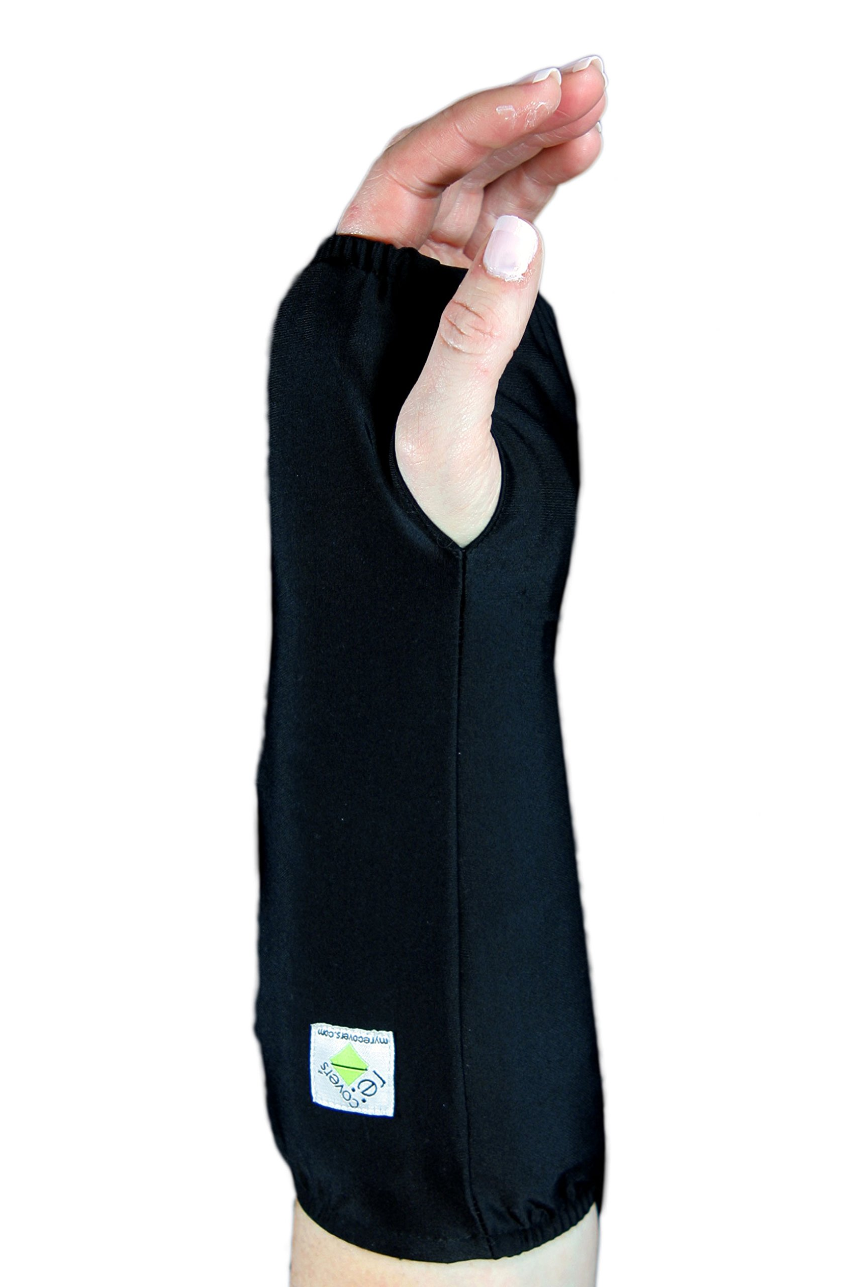 My Recovers Arm Cast Cover Protector, Fashion Cast Cover in Black for Short Arm Cast or Medical Wrist Brace, Made in USA, Orthopedic Products Accessories (Medium)