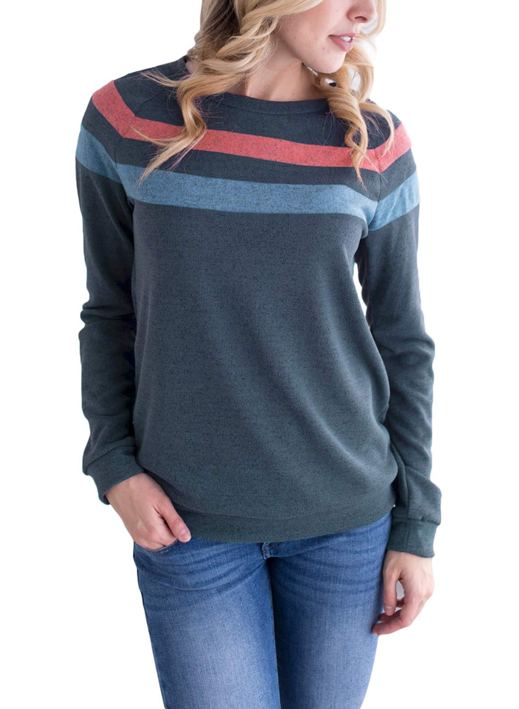 Astylish Women's Round Neck Autumn Sweatshirt Striped Sweatshirt Top Medium 8 10 Blue