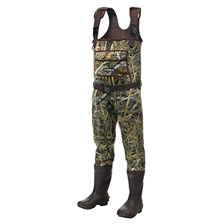 Hisea Chest Waders Neoprene Duck Hunting Waders for Men with Boots Camo Fishing Wader Bootfoot Cleated Waterproof Breathable Insulated