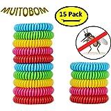 Muitobom, bracciali anti zanzare naturali, braccialetti impermeabili anti zanzare, 250ore, per bambini e adulti, confezione da 15