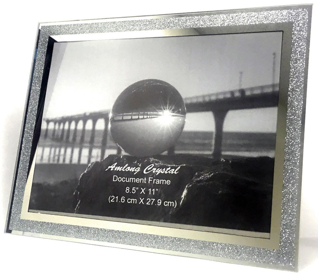 Amazon amlong crystal sparkle mirror picture frame 8 x 10 jeuxipadfo Image collections