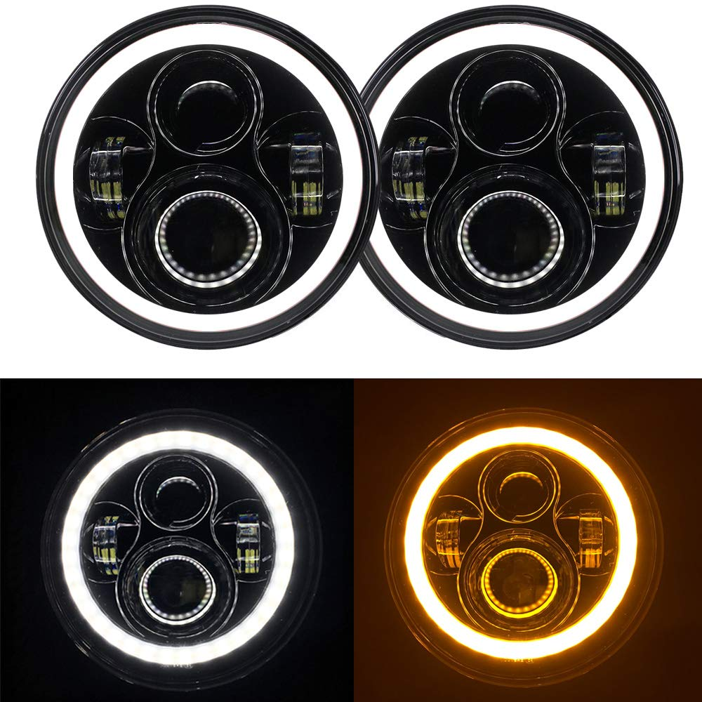 7 Round Cree LED Headlight with White DRL Halo Ring Angel Eyes+Amber Turn Signal Light For Jeep Wrangler JK TJ CJ DOT Approved