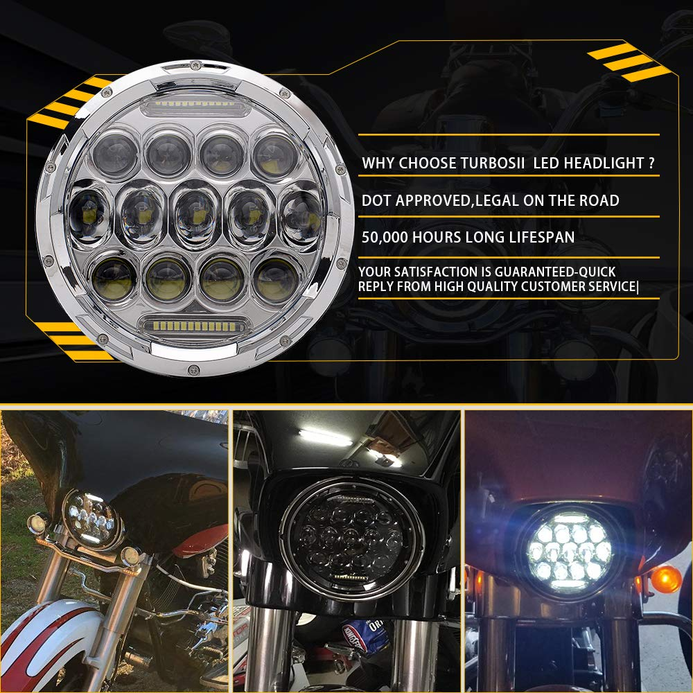 Turbosii Chrome 7 Led Headlight For Harley Davidson Exciting Scout Crafts 1 Or 2 Headlamp Motorcycle 75w Projector Hid Light Bulb Road King Ultra Classic Softtail Street