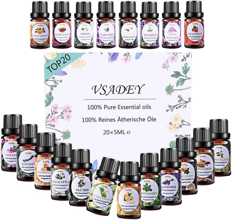 VSADEY Aceite Esenciales Aromaterapia Top 20 Aceites Set de Regalo Perfecto Aceites Esenciales para Humidificador y Difusor Aroma,SPA,Masajes,Relajarse,Set Essential Oils 100% Puro y Naturales