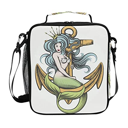 0d8b5286ee Amazon.com  Sea Mermaid Anchor Lunch Bag Insulated Lunch Box Cooler ...