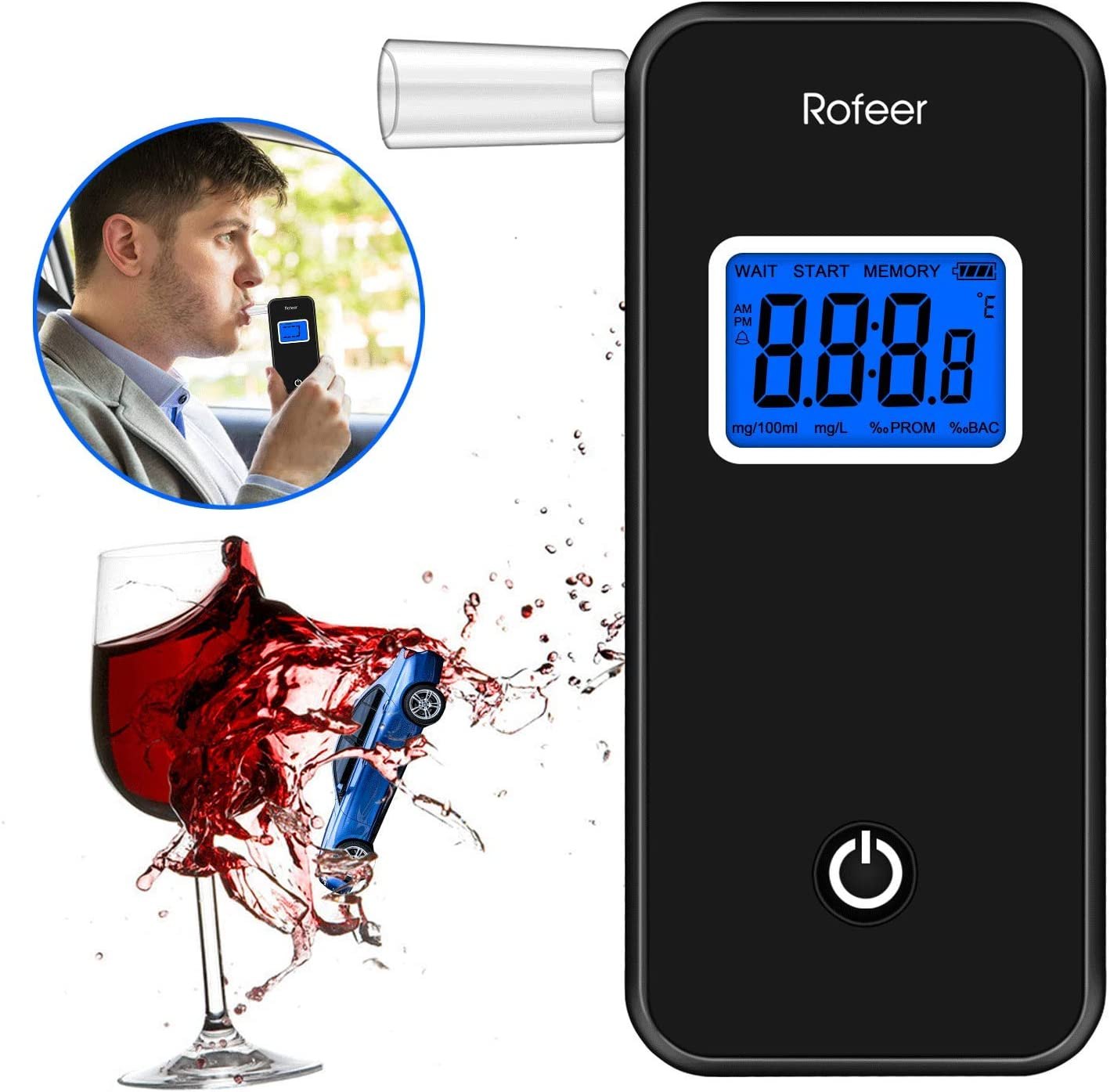 Breathalyzer, Rofeer Digital Blue LED Screen Portable Breath Alcohol Tester with 5 Mouthpieces for Drivers Or Home Use, Auto Power Off, Sound Alarm, Current Temperature Display