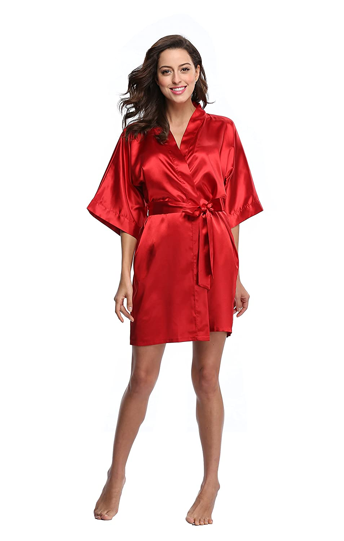 Luvrobes Women's Satin Kimono Robe, Solid Color, Short