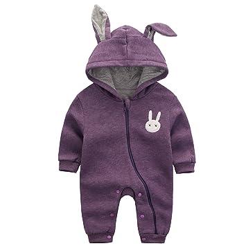 9122f57fb1a37 エルフ ベビー(Fairy Baby) 赤ちゃん着ぐるみ カバーオール ロンパース フード付き うさぎ耳 長袖防寒