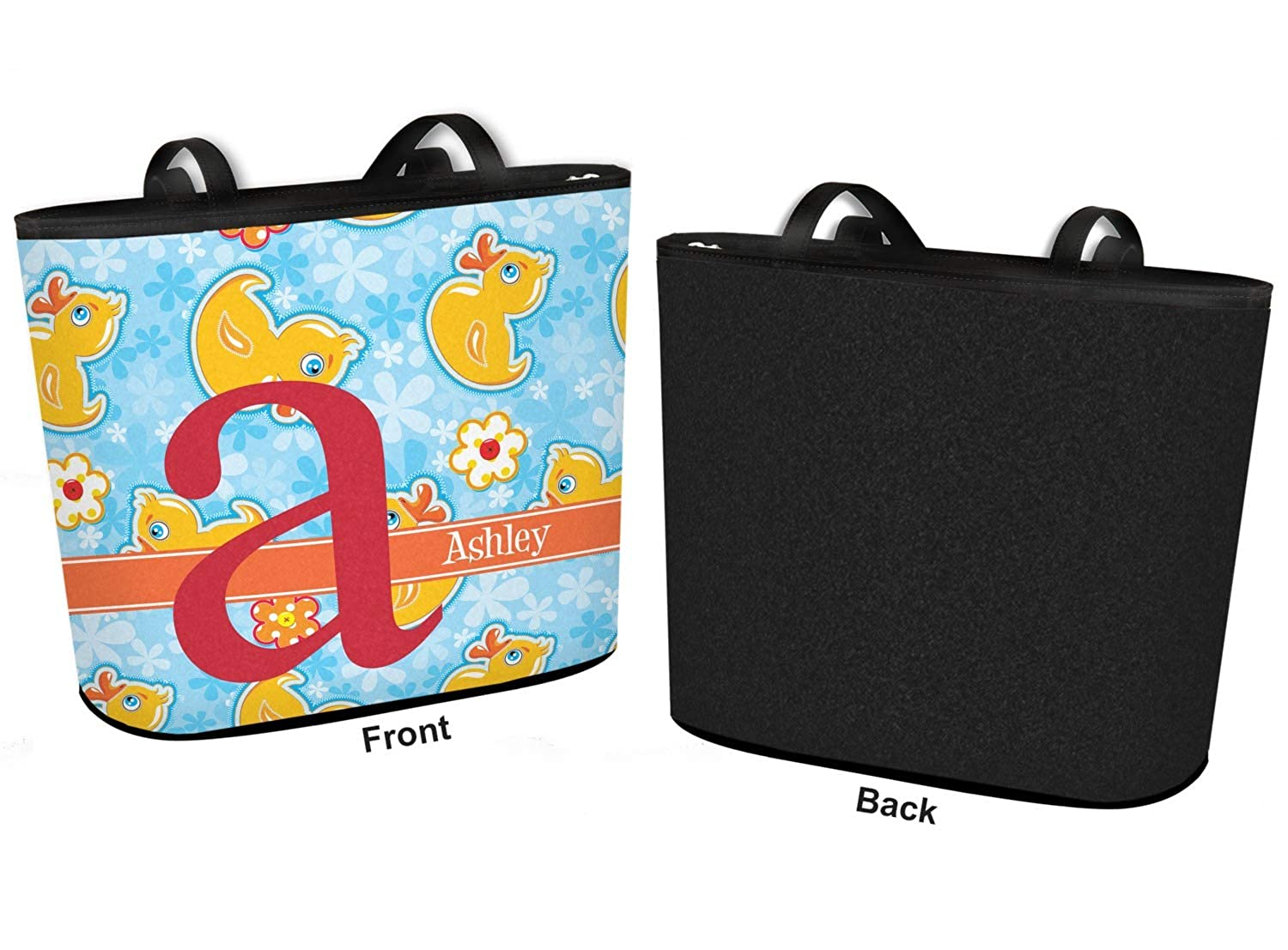 Regular w//Front Design Personalized Rubber Duckies /& Flowers Bucket Tote w//Genuine Leather Trim