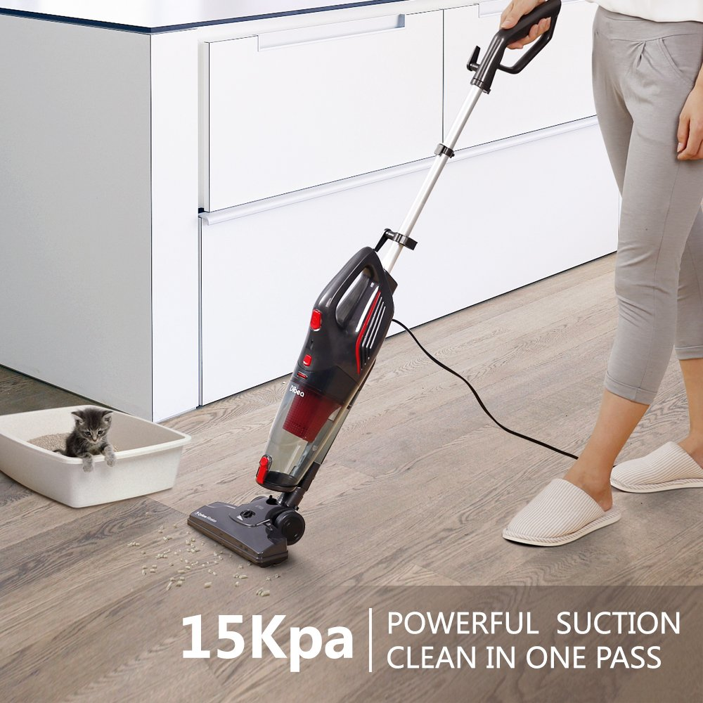 Dibea 600W Lightweight Corded Stick Vacuum Cleaner, 2 in 1 Bagless Hard Floor Pet Hair Vacuum with Cyclone HEPA Filtration & Crevice Tool-SC4588 by Dibea (Image #2)