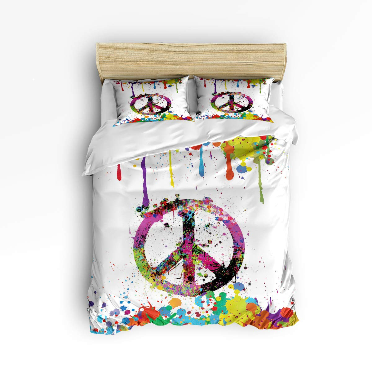 YEHO Art Gallery Soft Duvet Cover Set Bed Sets for Children Kids Girls Boys,Graffiti Anti-war Sign Colorful Hand Painting Bedding Sets Home Decor,1 Comforter Cover with 2 Pillow Cases,King Size
