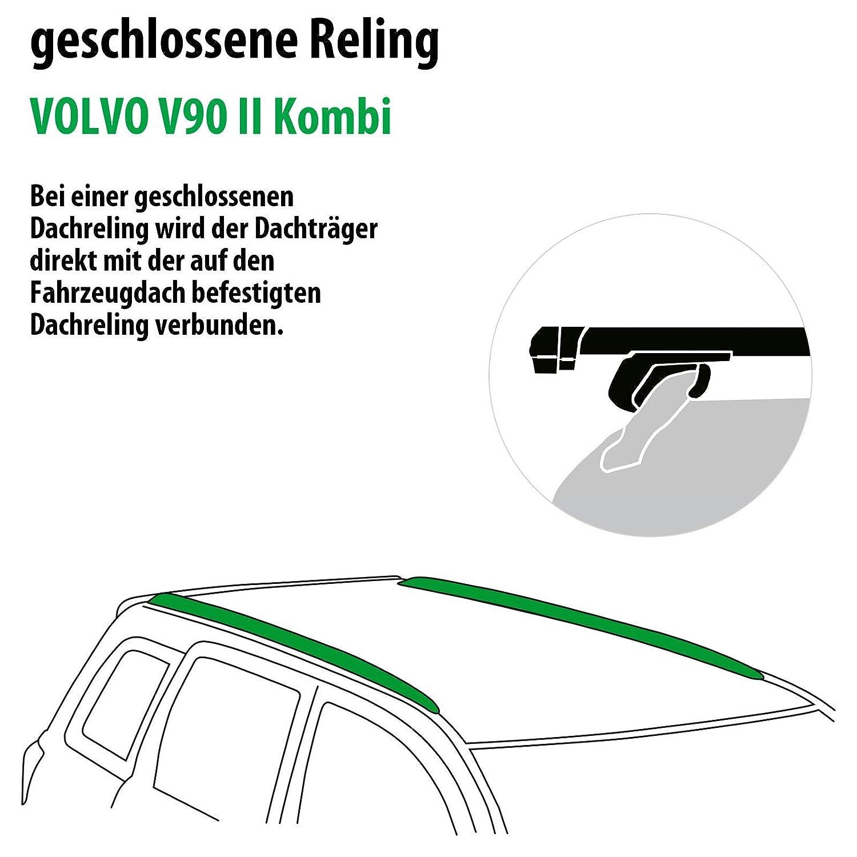Dachtr/äger Pick-Up f/ür Volvo V90 II Kombi Rameder Komplettsatz 111287-36540-56