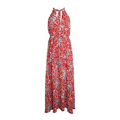 3792a7b6d0a Aakaa Womens Printed Maxi Dress Red Floral Medium at Amazon Women s ...