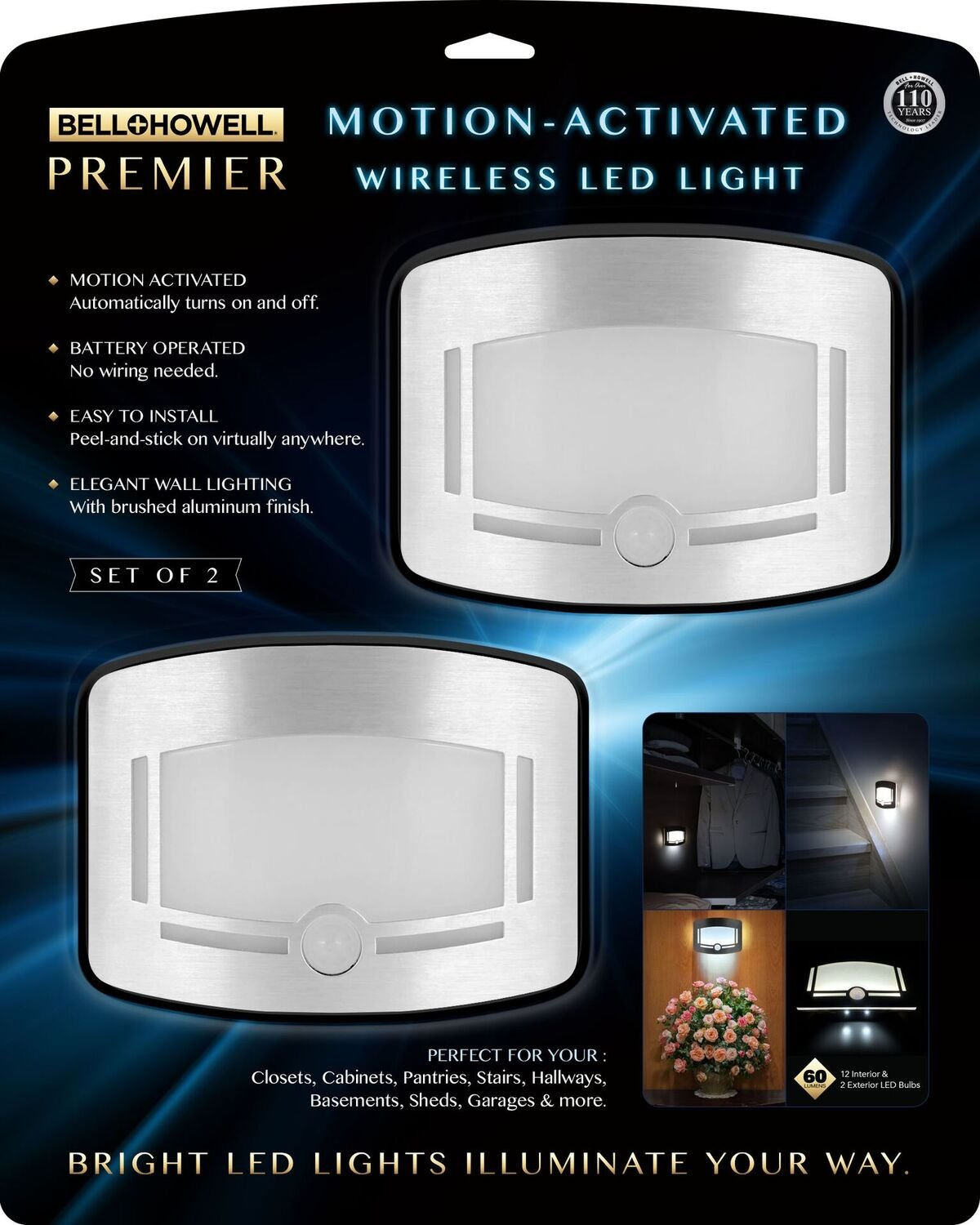 Bell Howell 2090 Premier Motion Activated Wireless Led Light Set Wiring A In Shed Of 2 Stainless Steel