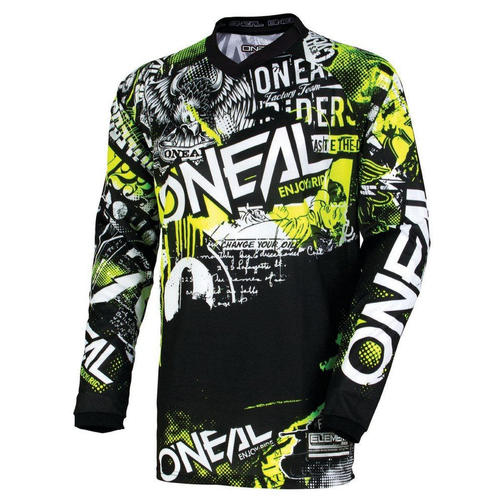 O'Neal 0006-802 Youth Element Attack Jersey (Black/Hi-Viz, Small)
