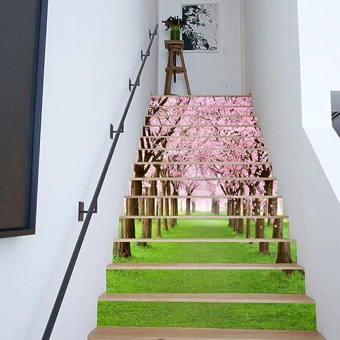 MIWEN Escaleras de renovación de viviendas Pegatinas Moda Creativa escaleras decoración Pegatinas de Pared cerezos Calles pintorescas: Amazon.es: Hogar