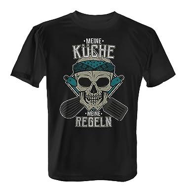 Fashionalarm Herren T-Shirt - Meine Küche - Meine Regeln   Fun Shirt mit  Totenkopf d42f83be8a