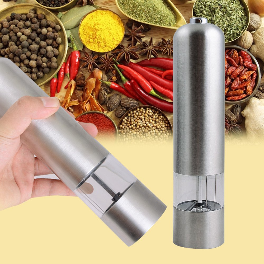 Funwill Salt and Pepper Grinder Set Mill Shaker Battery Operated Best Automatic Set Hand Cole Mason Adjustable Parts Kit Combo Manual Hardware Bottle Stainless Steel Kitchen
