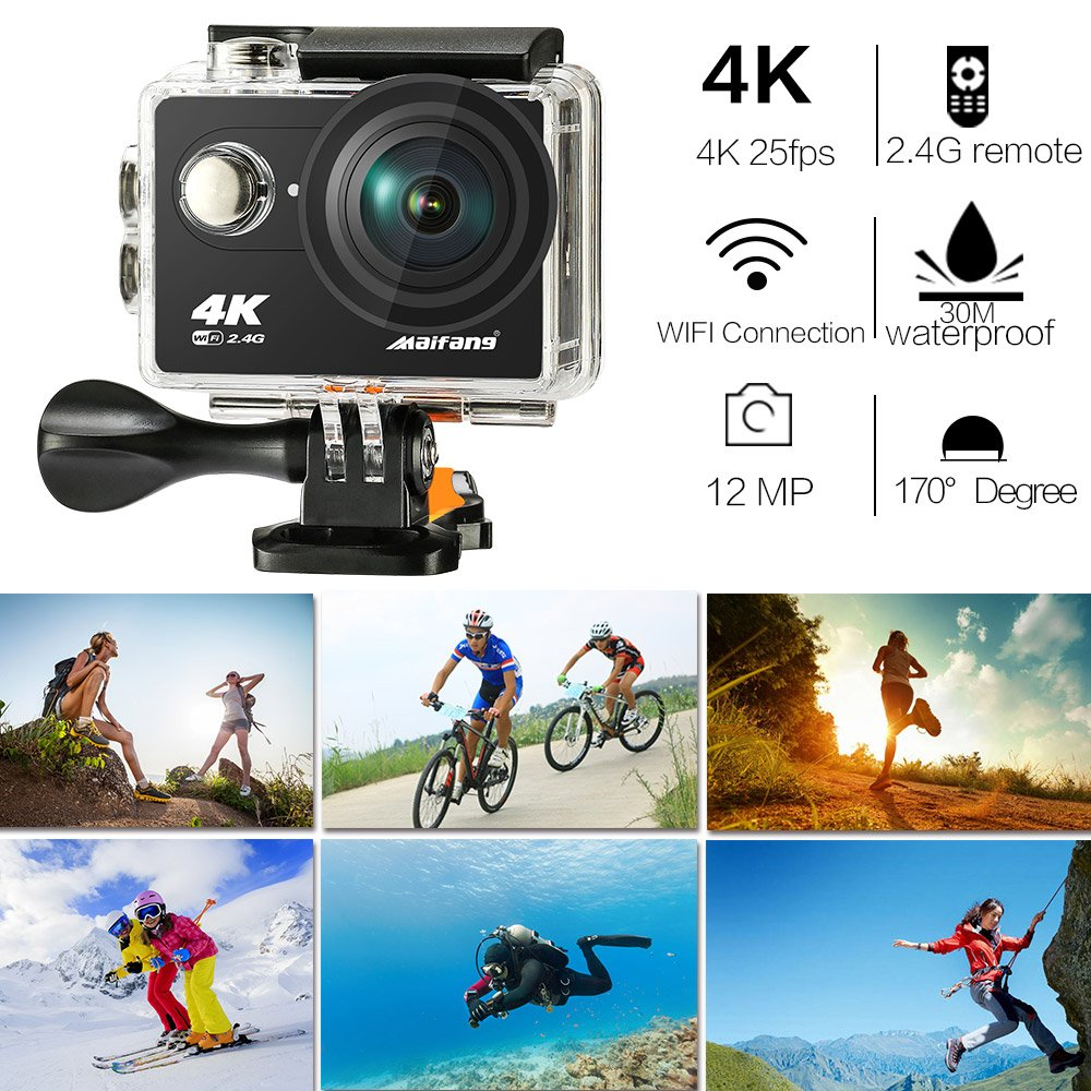 Waterproof 4k Wifi Sport Camer...