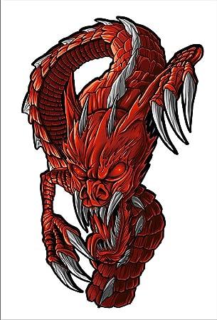 Amazon.com: Juego de 2 pegatina dragón rojo 7 inch x 4.3 ...