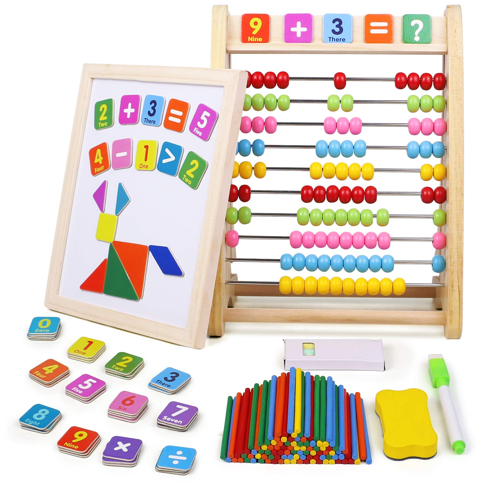 Jerryvon Abacus Magnetic Drawing Board Wooden Montessori Kids Toys Easel Kids for Painting with Whiteboard Blackboard Puzzles Maths Games Childrens Learning Educational Toys for 3 4 5 Year Olds