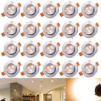 Hengda® 20X 3W Warmweiß LED Decken Einbaustrahler für Badezimmer Wohnzimmer  küche Spot Leuchte Lampe Set 255Lumen 85-265V IP44