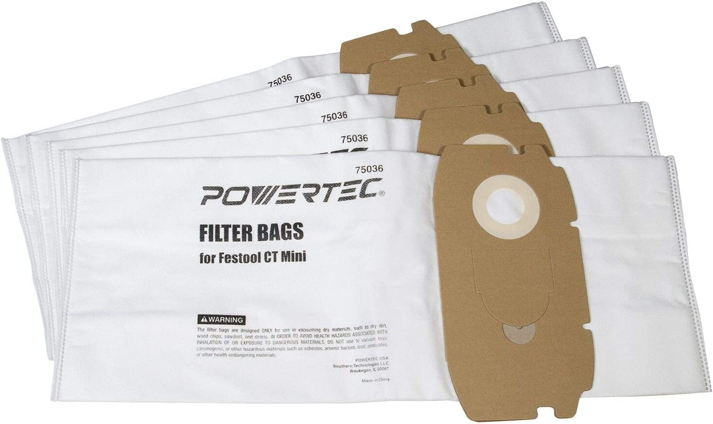 POWERTEC 75036 Self Cleaning for Festool CT Mini 498410 Filter Bags | Flexible Fleece Filter Bag – 5 Pack