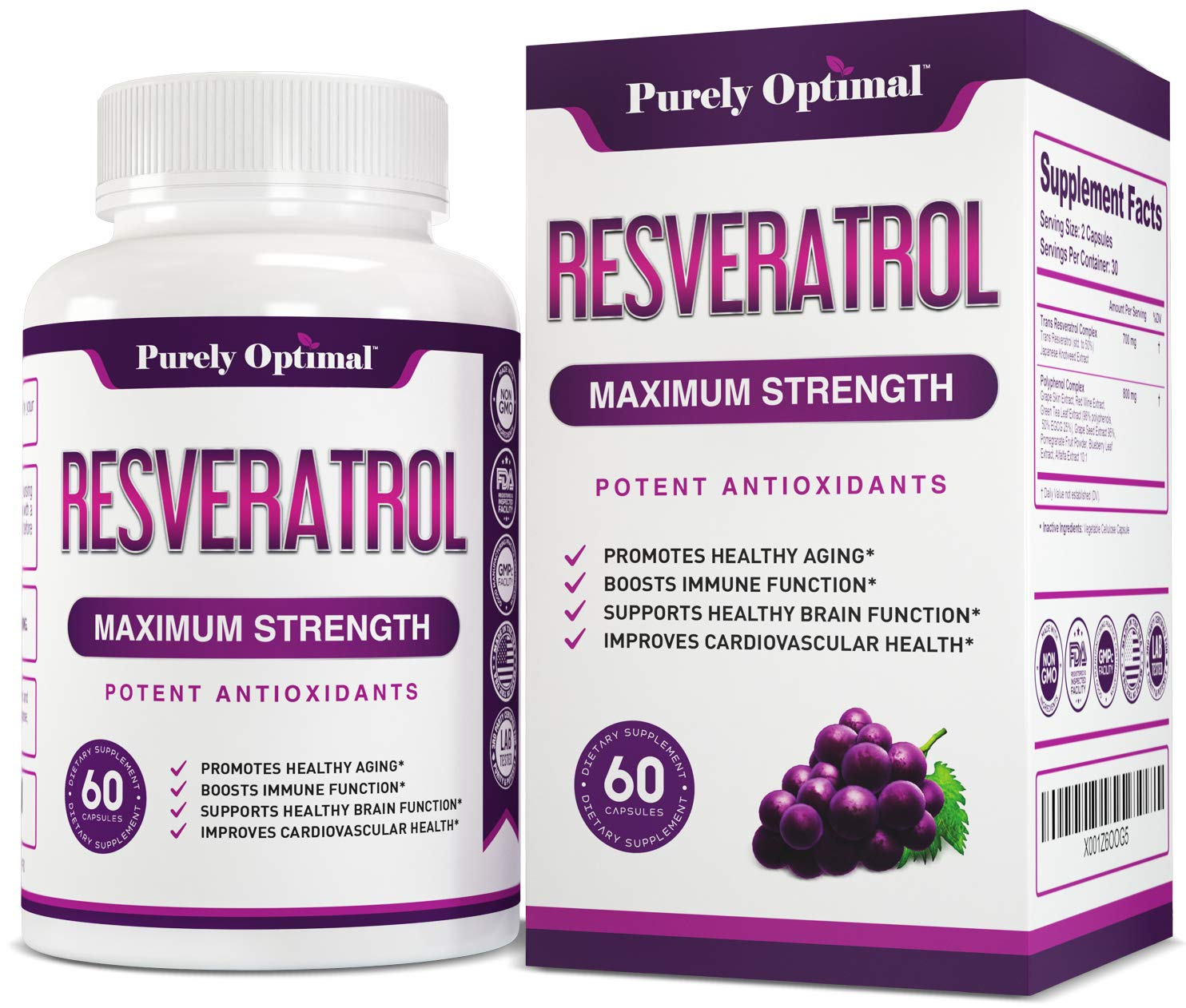 Premium Resveratrol Supplement Max Strength 1500mg (Vegetarian Caps) - Potent Antioxidants, Trans Resveratrol Capsules for Anti-Aging, Brain Function, Heart & Immune Health Supplements - 30 Day Supply by PURELY OPTIMAL