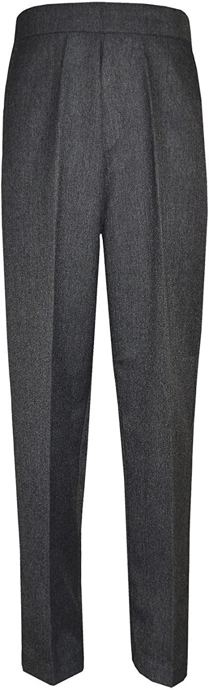 PINDERS Boys School Uniform Pull up Trousers Black Grey Navy Half Elasticated