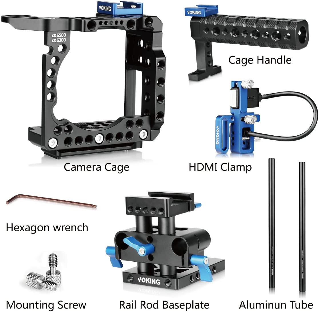 HDMI Clamp Rods Rail Support System Voking VK-A6500B DSLR Video Camera Kit for Sony Alpha A6500 A6300 A6000 with Camera Cage Handle