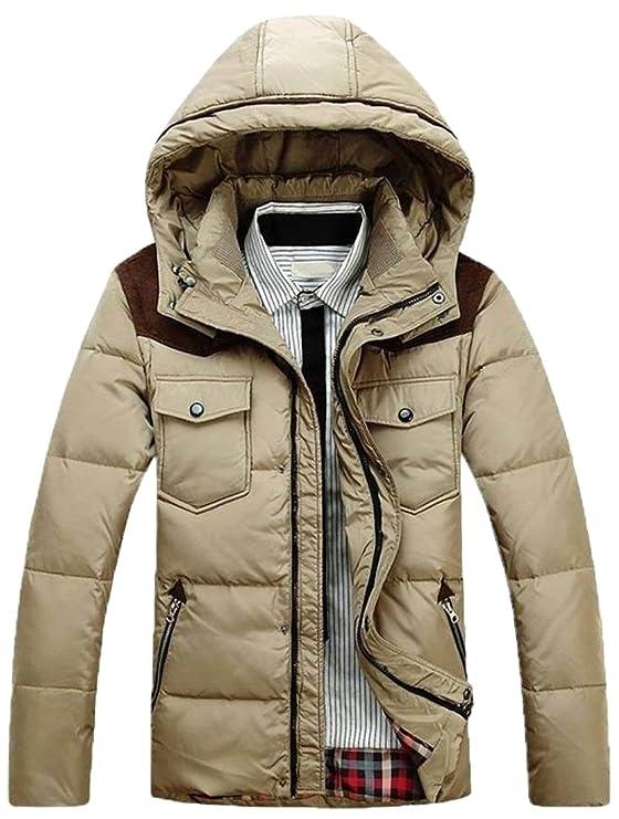 Fashciaga Men's fashion white duck down winter Parka coats outwear:  Amazon.co.uk: Clothing