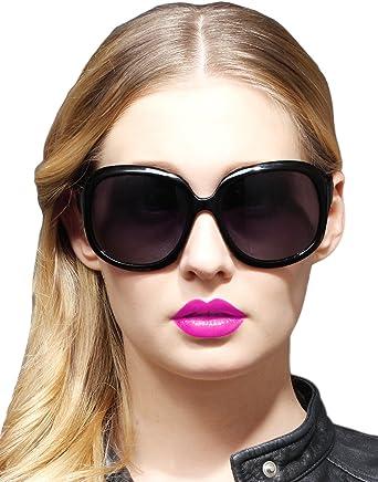 bc47d2d8fe ATTCL Women s Oversized UV400 Polarized Sunglasses(3113 Black ...