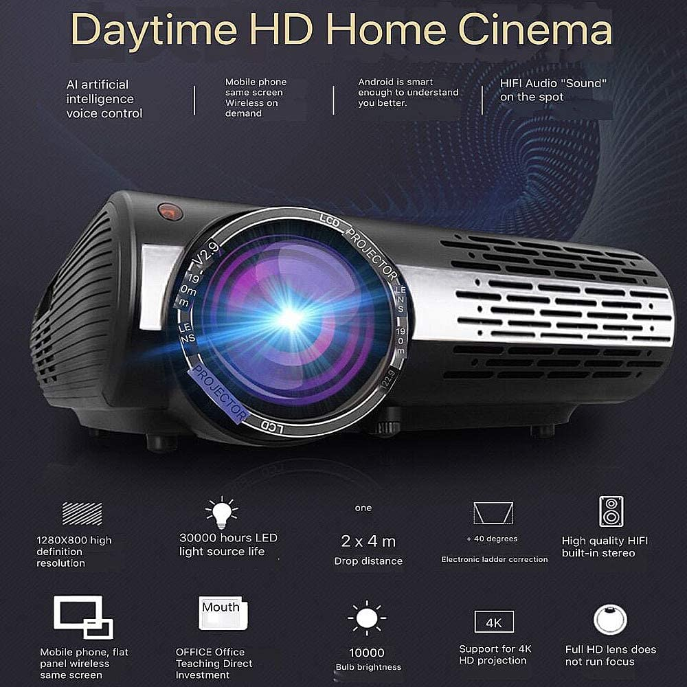 NCBH Proyector inalámbrico, Home HD Smart WiFi Home Theater ...
