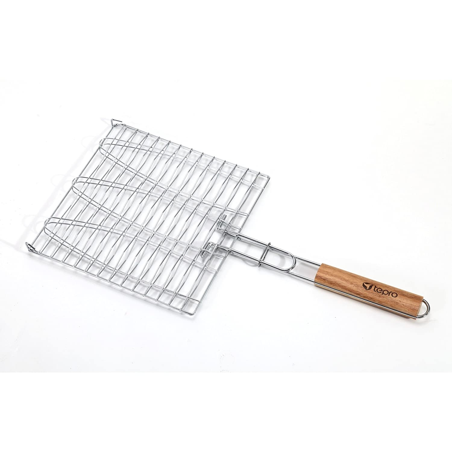BBQ Grill Basket Turner for 3 Fish with Wooden Handle tepro 8525