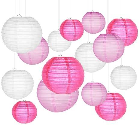 Lampade Cinesi Di Carta.Lanterne Di Carta Smaluck 15 Confezioni Cinese Rotonda Lanterna Di Carta Da Appendere Con Diversi Colori E Dimensioni Per Compleanno Da Sposa Baby