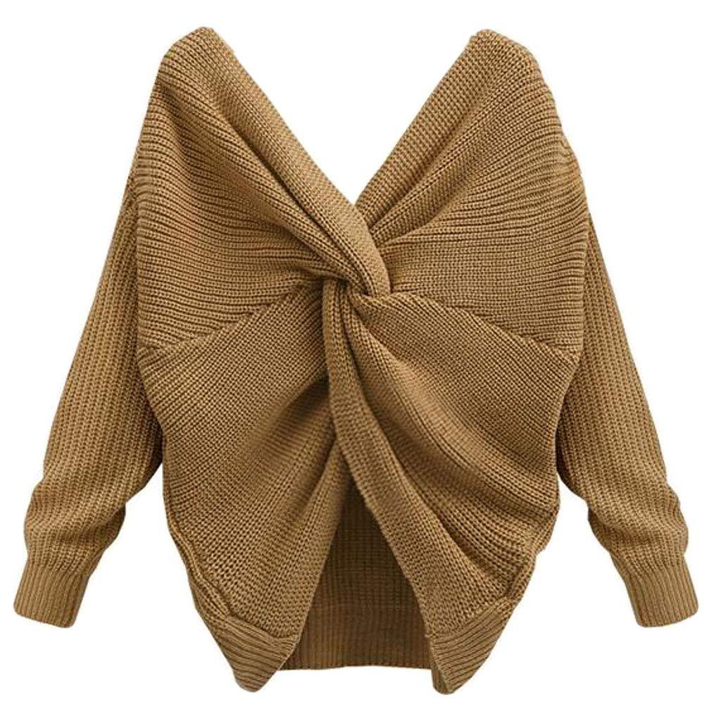 RunrainWomen - Sudadera sexy con cuello en V y espalda trenzada, manga larga, jersey de punto caqui Talla:M