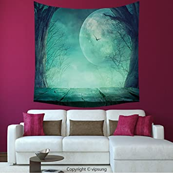 House Decor Square Tapestry Halloween Decorations Spooky Forest Full Moon And Vain Branches Mystical Haunted