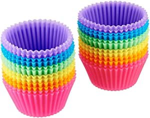 AmazonBasics Reusable Silicone Baking Cups, Pack of 24, 5.5 x 2.8 x 3.4, Multicolor