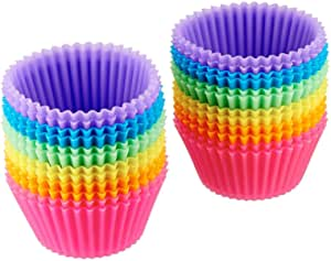 Amazon Basics Reusable Silicone Baking Cups, Pack of 24, 5.5 x 2.8 x 3.4, Multicolor