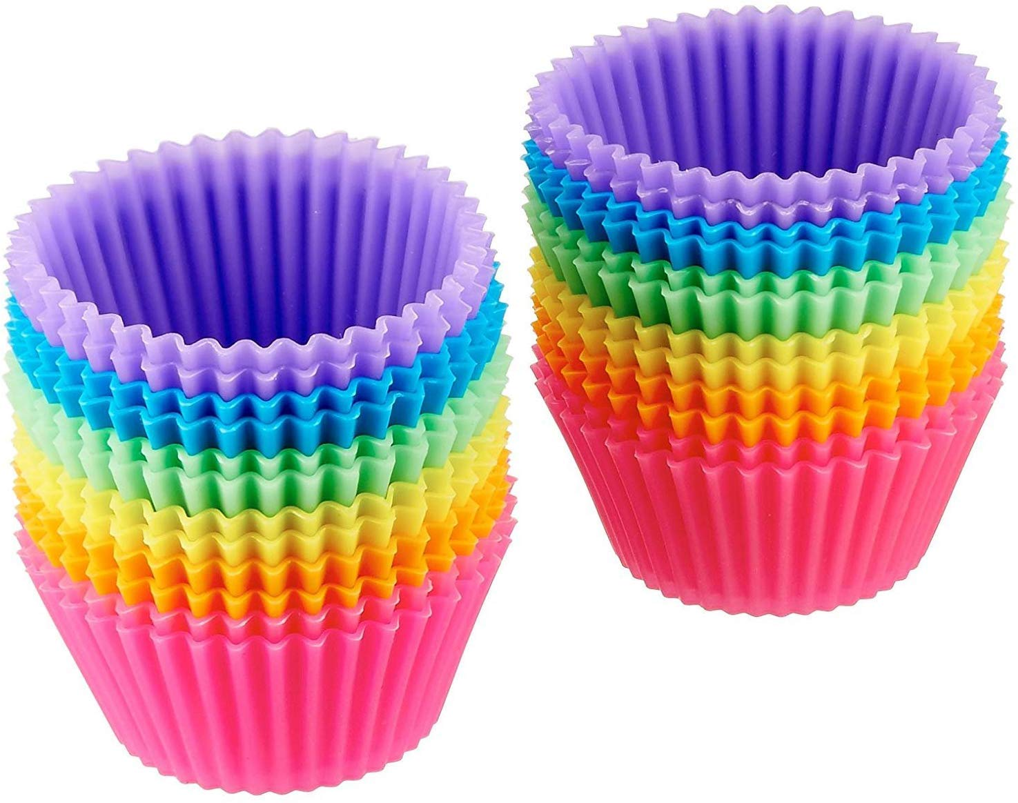 Amazon Basics Reusable Silicone Baking Cups, Pack of 24, Multicolor