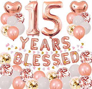 15TH Years Blessed Rose Gold Party Decorations Set-Rose Gold 16INCH Years Blessed Foil Banner Foil Number 15 Confetti Balloons and more for 15TH Birthday or Wedding Anniversary Party Supplies Pertlife