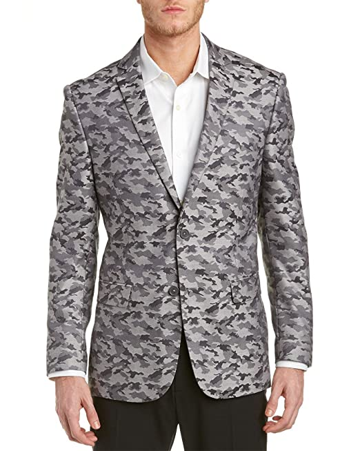 37a43bccdc V19.69 Italia By Versace 19.69 Men s Slim Fit Gray Army Fatigue Camo  Jacket  Amazon.ca  Clothing   Accessories