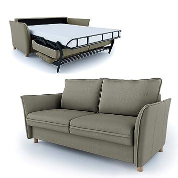 Place To Be Hochwertiges Schlafsofa 160 Cm Liegeflache Matratze Lattenrost Einfach Ausklappbar Khaki Grun Oliv 16 Farben
