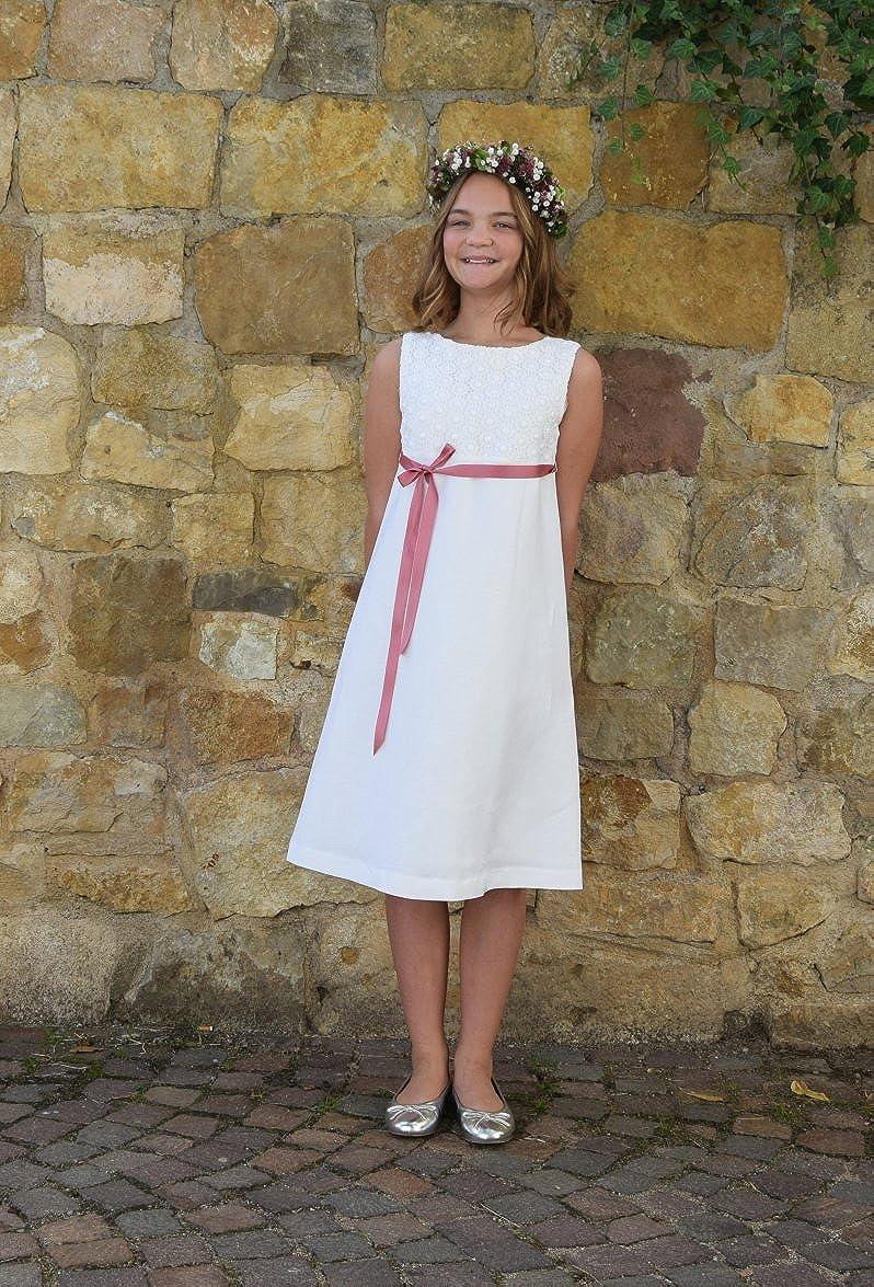 6d120a063475 Verasposa® Robe de Communion Blanche pour Filles en Viscose Lin avec de Jolies  Dentelle de ...
